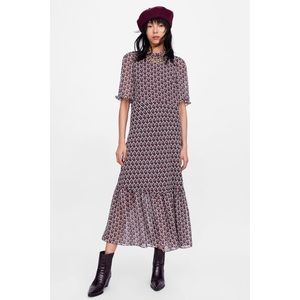 Zara Woman Heart Print Midi Dress Ruffles Neck Tie